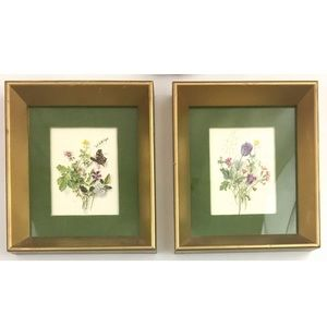 Vintage velvet framed floral art prints wall decor